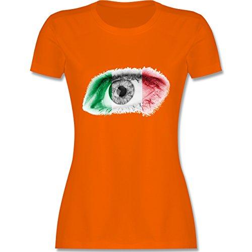 EM 2016 - Frankreich - Auge Bodypaint Italien - tailliertes Premium T-Shirt mit Rundhalsausschnitt für Damen Orange