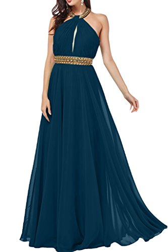 ivyd ressing Donna A della linea Neck Holder con pietre Party Abito in chiffon Prom Dress abito da sera Blu inchiostro
