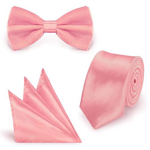 StickandShine SET Krawatte Fliege Einstecktuch Altrosa einfarbig uni aus Polyester