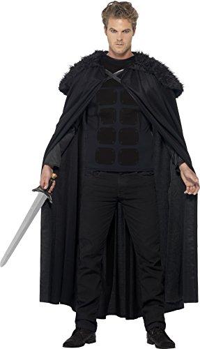 Smiffys, Herren Finsterer Barbar Kostüm, Oberteil und Cape, Größe: M, (Erwachsene Kostüme Barbaren)