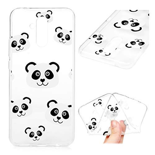 Edauto Huawei Mate 20 Lite Hülle Case Handyhülle Durchsichtig Transparent Schutzhülle TPU Silikon Slim Fit Tasche Silikonhülle Handyhülle Handytasche Backcover Handycover Panda
