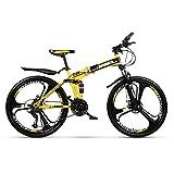 Grimk Mountainbike 26 Zoll Citybike Damen Herren Klapprad Faltrad Aluminium Leicht Falträder Klappräder Männer Faltbar Fahrrad Erwachsene Mit Kinder Unisex Klappfahrrad Urban Bike,Yellow,24speed
