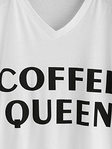 ROMWE Damen Top mit Spruch Buchstaben Sommer T Shirt Weiß(Coffee Queen)