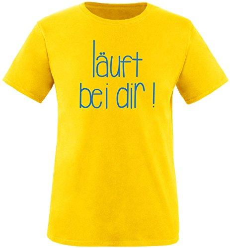 EZYshirt Läuft bei dir ! Herren Rundhals T-Shirt Gelb/Blau