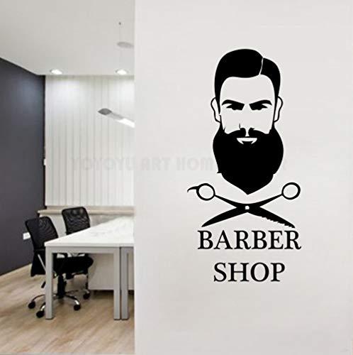 Abnehmbare Barber Shop Wandtattoo Mann Haarschnitt Salon Fenster Wand Logo Decor Aufkleber Vinyl Bart Gesicht Werkzeuge Herren Salon 42X85CM