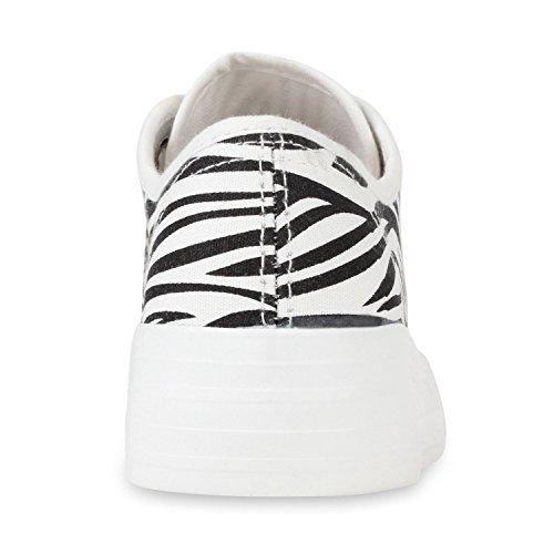 Sportliche Damen Plateau Low Sneakers Bequeme Schnürer Schuhe Zebra