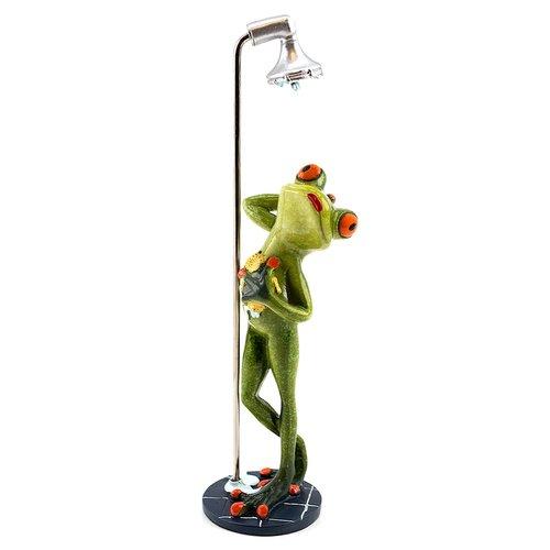 Deko Frosch unter der Dusche, Dekofigur Frosch, hellgrün, Höhe ca. 24,5cm