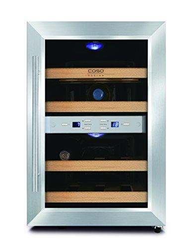 CASO WineDuett 12 Design Weinkühlschrank für bis zu 12 Flaschen (bis zu 310 mm Höhe), zwei...