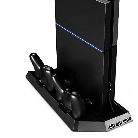 CoJoie Support Vertical pour Sony PS4 avec Double Refroidisseur Double Chargeur Manette et 3 Hub USB, Noir