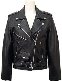 ... abrigo   34. UNICORN Mujeres Genuino real cuero chaqueta Estilo clásico  Biker Brando Negro  B3 c8e89f99c084