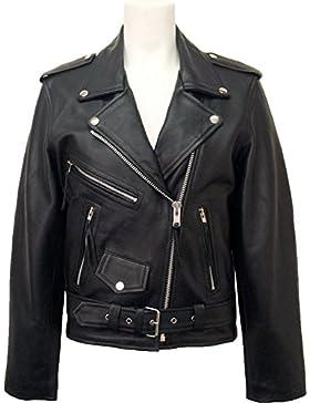 UNICORN Mujeres Genuino real cuero chaqueta Estilo clásico Biker Brando Negro #B3