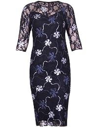 Purple Hanger Damen Midi Kleid Blumen Netz Metallic Foliendruck 3/4 Ärmel Figurbetont Stretch Gefüttert Wadenlang Übergröße
