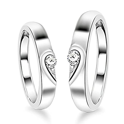 AnaZoz S925 Sterling Silver Puzzle Heart Solitaire CZ Adjustable Promise Ring Sets for Couples
