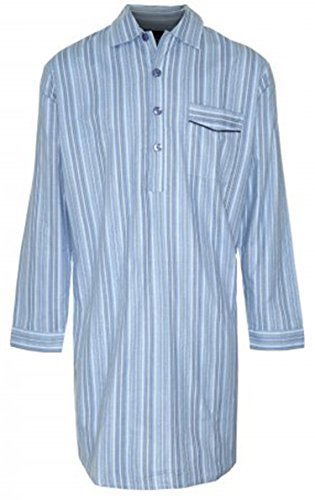 New Mens CHAMPION Striped Brushed Cotton Knee Length Long sleeved Button Front Nightshirt Nightwear Sleep or Lounge Wear. Light-Blue L