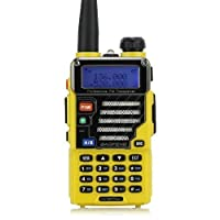 BaoFeng UV-5R Plus/UV5R+ Qualette Series 136-174/400-480MHz 2M/70CM Ham Two-way Radio, Dual-Band, Dual-Display, Dual-Standby, 18CM/7FT Boosted Antenna, Imperial Yellow, 2013 Newest