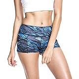 Ladies High Waist Workout Yoga Running Compression Shorts Tummy Control Side PocketsPrinted High