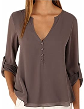 Fuxiang Blusas Mujer Gasa Camisetas Manga Larga Camisas Blusa Camisa Cuello V Shirt Casual Camiseta Top Señoras...