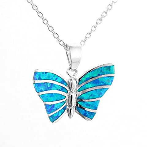 De'Lageo 925 Sterling Silber Opal Schmetterling Anhänger