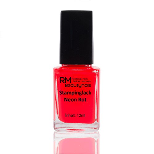 Stampinglack Neon Rot 12ml Stamping Lack Nagellack Nail Polish RM Beautynails - Set Konad Platten