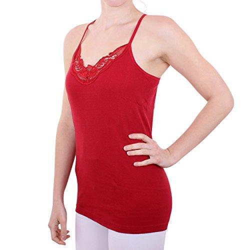 2er Pack Damen Hemd mit Spitze mit Spaghettiträger Nr. 356 Feinripp - Sehr gute Qualität ( Rot/Schwarz / 56/58 ) - 2