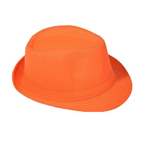 Strohhut Panama Fedora Trilby Gangster Hut Sonnenhut mit Stoffband Farbe:-Orange Gr:-54