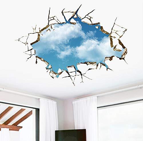 (LQWE 50X70 Vivid Kreative 3D Fenster Loch Landschaft Blauen Himmel Weiße Wolke Abziehbild Wandaufkleber Für Haus Wohnzimmer Dach Aufkleber Aufkleber)