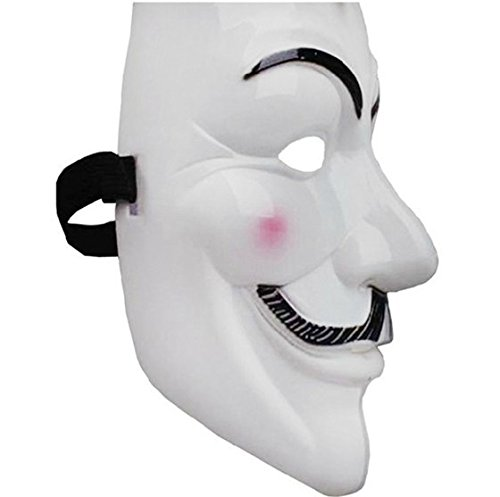 V for Vendetta Mask Guy Fawkes Anonymous fancy Cosplay costume -White by DELED