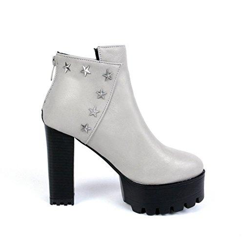 AllhqFashion Damen Spitz Zehe Hoher Absatz Niedrig-Spitze Stiefel mit Metallisch, Grau, 38