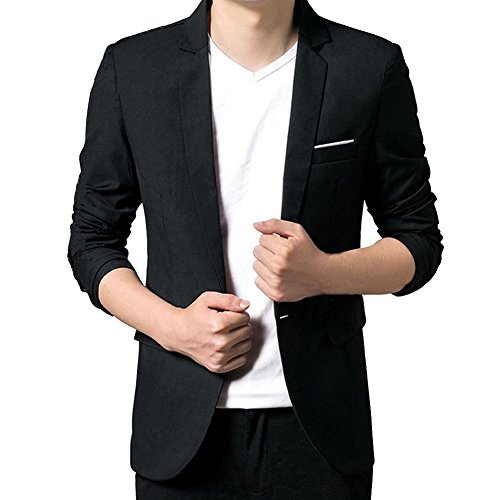 VOBAGA Slim Fit Uomo Casual One Button elegante vestito di affari cappotto giacca grigia Blazers
