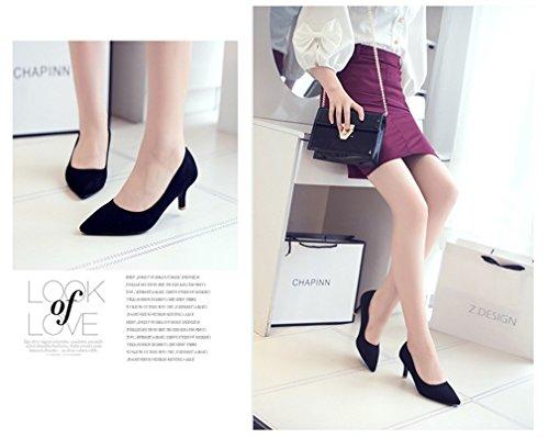 Xianshu Frauen Sommer Herbst Suede Mid Heels Flach Mund Low Single Pointed Shoes Pumps Schwarz