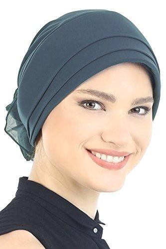 Coiffe Doux Rembourrée et Pliée avec Fleur en Chiffon à l'arrière pour Perte de Cheveux, Chimio, Cancer Dark Greyish Blue