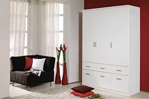 Rauch Möbel Bremen Schrank Drehtürenschrank Kleiderschrank in Weiß mit 6 Schubladen 3-türig, inklusive Zubehörpaket Basic 2 Kleiderstangen, 2 Einlegeböden BxHxT 136 x 199 x 58 cm