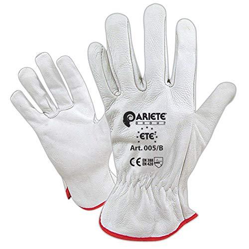 guanti da lavoro pelle Confezione da 12 guanti in fiore di vitello bianco orlato da giardinaggio taglia 10