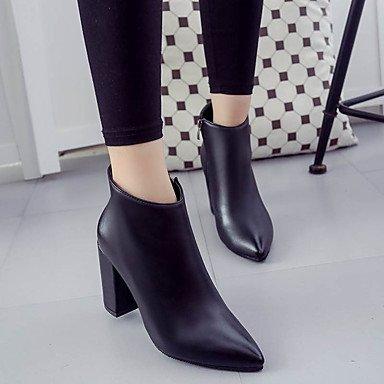Desy Femmes Chaussures Pu (polyuréthane) Automne Hiver Confortable Cheville Bottes Carré Bottines / Chaussons Pour Casual Noir Rouge Champagne Noir