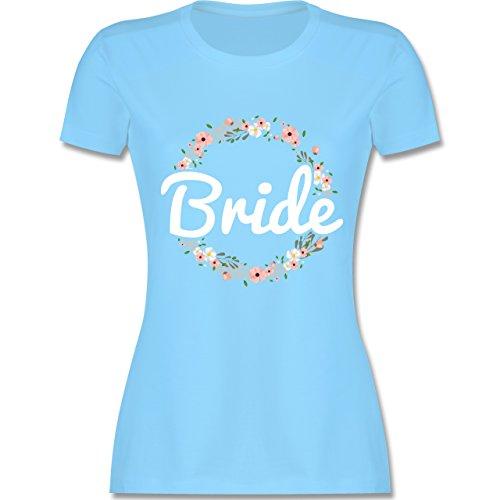 JGA Junggesellinnenabschied - Bride Blumenkranz - tailliertes Premium T-Shirt mit Rundhalsausschnitt für Damen Hellblau