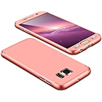 Galaxy S6 Funda,2ndSpring Funda Samsung Galaxy S6 360 Grados Integral Para Ambas Caras + Cristal Templado, Luxury 3 in 1 PC Hard Skin Carcasa Case Cover para Samsung Galaxy S6 Rose Oro