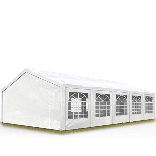 Tente de réception 5x10 m, toile de haute qualité 240g/m² PE blanc construction en acier galvanisé avec raccordement par vissage