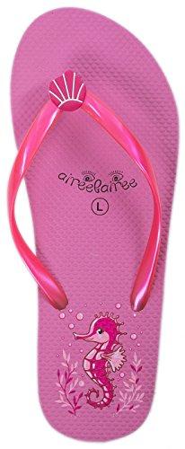 Airee Fairee Zehentrenner Damen Flip Flops Mädchen Sommer Sandalen Schwimmbad Schuhe Seepferdchen -Muster(EU 38-39, Rosa)