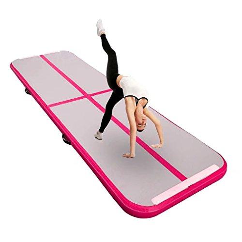 """Aufblasbar Gymnastik Tumbling Matte Air Track Weichbodenmatte für Zuhause, Cheerleading, Strand, Park und Wasser-inklusive Steuer (118\""""x39\"""",Pink)"""