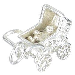 , 925 Kinderwagen Sterlingsilber mobil 1 x BRAUN Kinderwägen Baby BJ1429