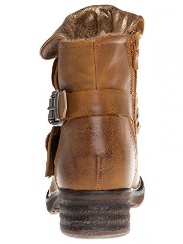 CASPAR SBO078 Boots biker vintage pour femme Camel