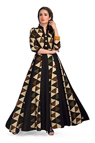 Madhuram Textiles Women's Rayon Maxi Kurta (M-1029_Olive_Medium)