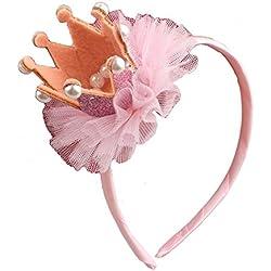 Kanggest Moda Para el Cabello Diadema Del Niña Corona Flor Peine Dientes Banda de Pelo Aro de Pelo de Ornamento Para Adornos de Pelo Accesorios, 1 Piezas(Rosado)