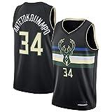Hanbao Milwaukee Bucks 34# Antetokounmpo Maglia da Basket per Uomo Jersey, Nuovo Traspirante Tessuto Ricamato Camicia T-Shirt Sportive Swingman