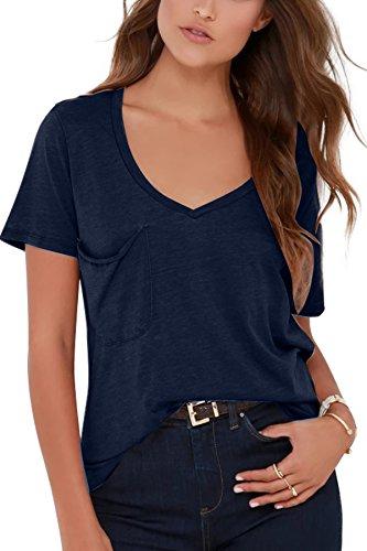 JL&LJ Damen Tshirt Sommer Kurzarm Top V Ausschnitt Baumwoll Freizeit Oberteile Basic Unterhemd Bluse Shirt Rosa S-XL
