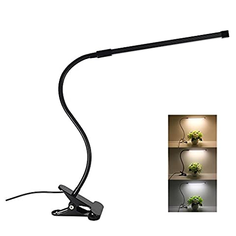 Clip On Desk Lamp Dimmable Eye Care Reading Light Clamp On 3 Color Changing 10-Level Brightness Flex Mental Gooseneck 8W Clip On Light for Bed LED Table Light (Black)