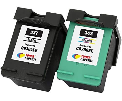 TONER EXPERTE® 2er Set Druckerpatronen kompatibel für HP 337 HP 343 C9364EE C8766EE Photosmart 2500 2570 2573 2575 C4100 C4110 C4140 C4150 C4180 D5160 Deskjet D4160 5940 | hohe Kapazität