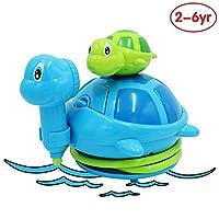 ANIKI TOYS Baby Hand Shower Bathtub Spray Water Pump Floating Bath Toy, Battery Operated Tortoise Fountain Water Game Bathing Tub