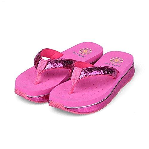 WANGXN Womens Flip Flops Sandalen Lässige Anti - Erdrutsche mit Umwelerschuhe Grau Pink , 5239 pink , 34 (Espadrilles Crew)