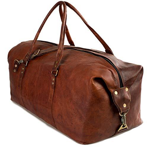 NAMA \'James\' Weekender Echtes Leder Reisetasche Vintage Retro Sporttasche 60 cm 45 Liter für Damen und Herren Duffle Bag Schultertasche Naturleder Braun